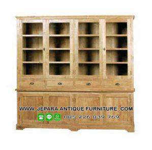 Furniture Lemari Buku Kayu Jati Model Klasik